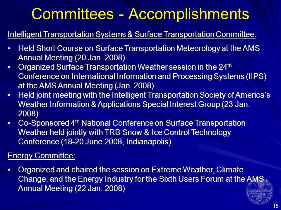 15 Committees - Accomplishments Intelligent Transportation Systems & Surface Transportation Committee: Held Short Course on Surface Transportation Met