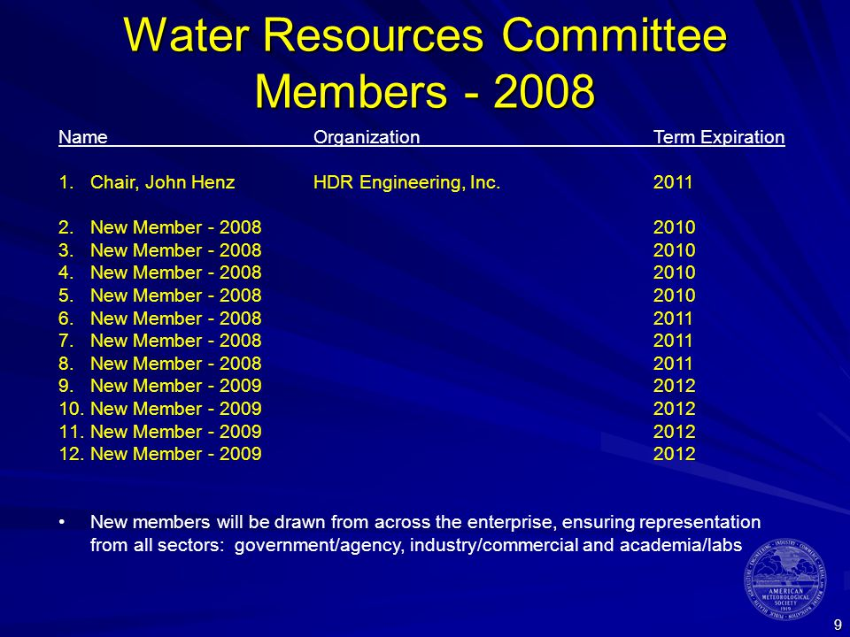 9 Water Resources Committee Members NameOrganizationTerm Expiration 1.Chair, John HenzHDR Engineering, Inc New Member New Member New Member New Member New Member New Member New Member New Member New Member New Member New Member New members will be drawn from across the enterprise, ensuring representation from all sectors: government/agency, industry/commercial and academia/labs