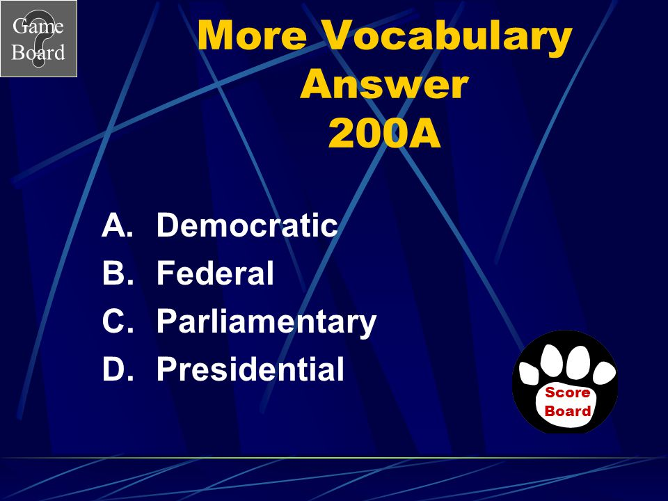 Game Board More Vocabulary 200 In what type of democracy is the chief executive elected by the citizens of voting age? Answer