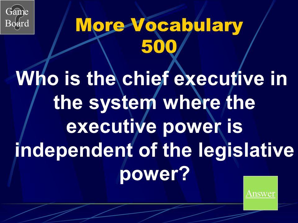 Game Board More Vocabulary 400A A.Monarch B.President C.Prime Minister D.Tsar Score Board