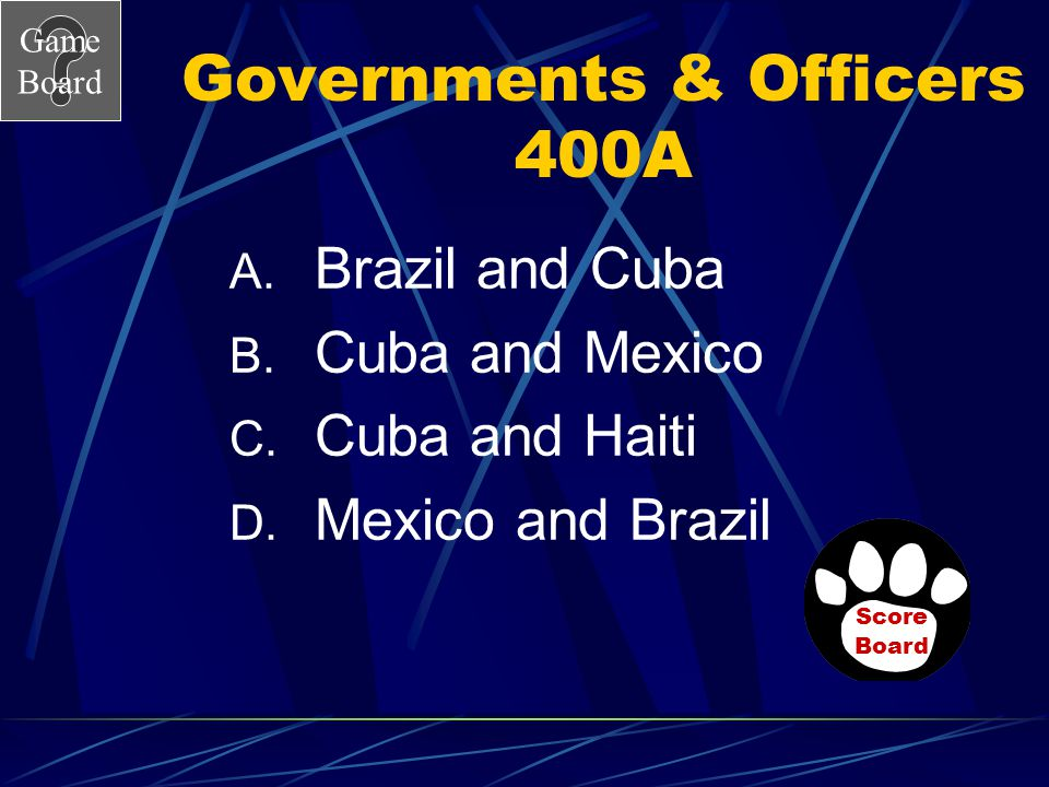 Game Board Governments & Officers 400 Which two countries have the same type of governments? Answer