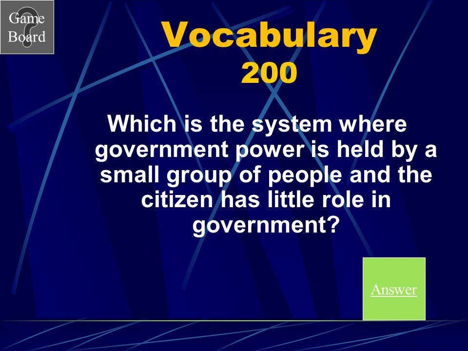 Game Board Vocabulary Answer 100 A A.Autocratic B.Democratic C.Oligarchic D.Unitary Score board Score Board