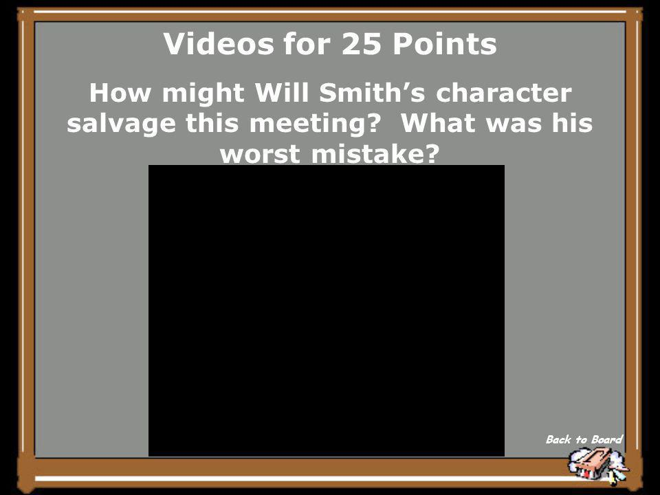 Videos for 20 Points What theme can you infer from the video clip Back to Board