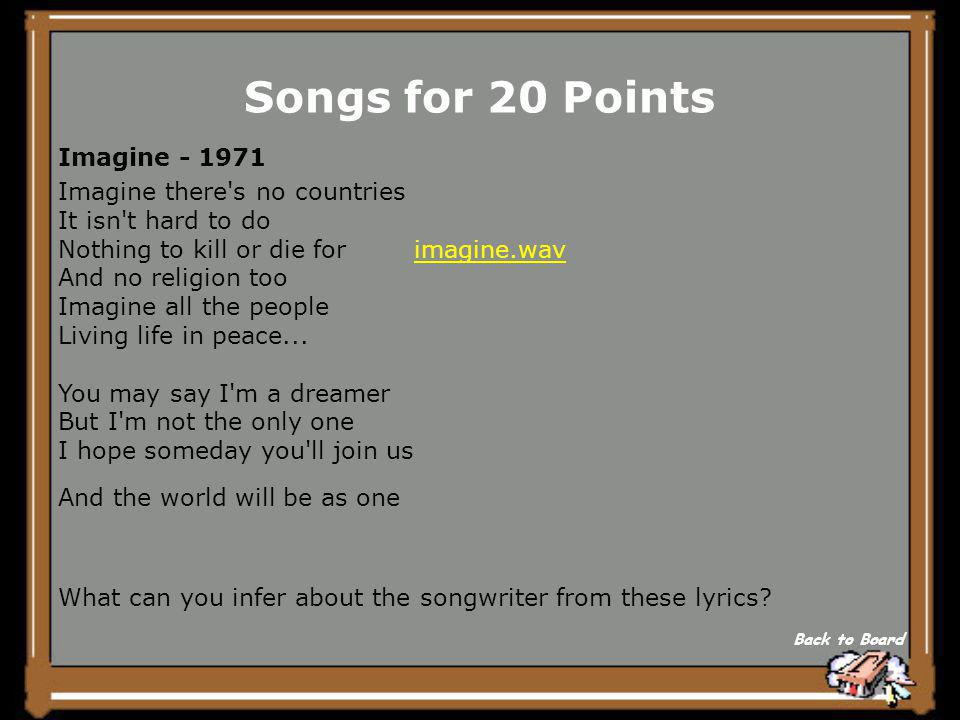 Songs for 15 Points Explain the analogy/ metaphor in this song excerpt. Back to Board