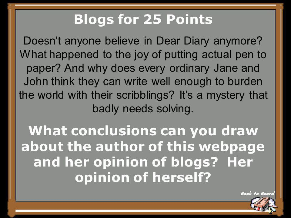 Blogs/IM's for 20 Points Who is the intended audience for this blog.