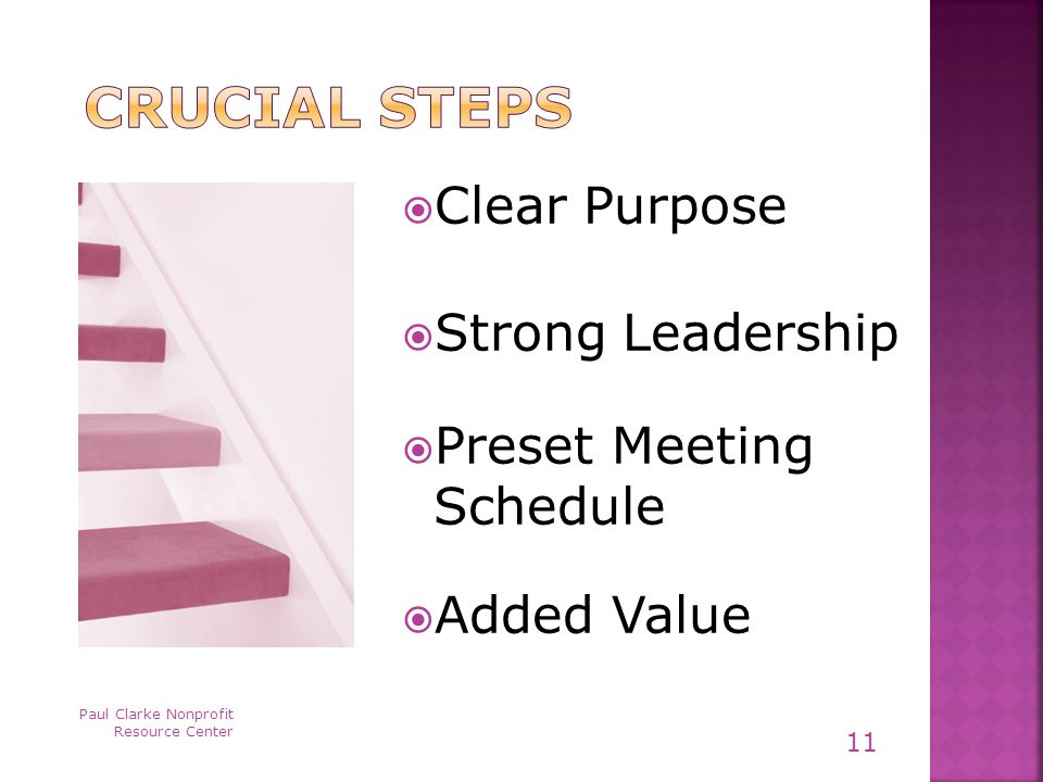  Clear Purpose  Strong Leadership  Preset Meeting Schedule  Added Value Paul Clarke Nonprofit Resource Center 11