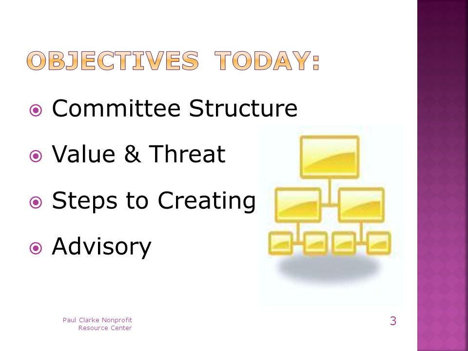  Committee Structure  Value & Threat  Steps to Creating  Advisory Paul Clarke Nonprofit Resource Center 3