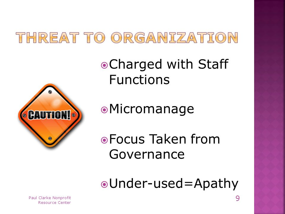  Charged with Staff Functions  Micromanage  Focus Taken from Governance  Under-used=Apathy Paul Clarke Nonprofit Resource Center 9