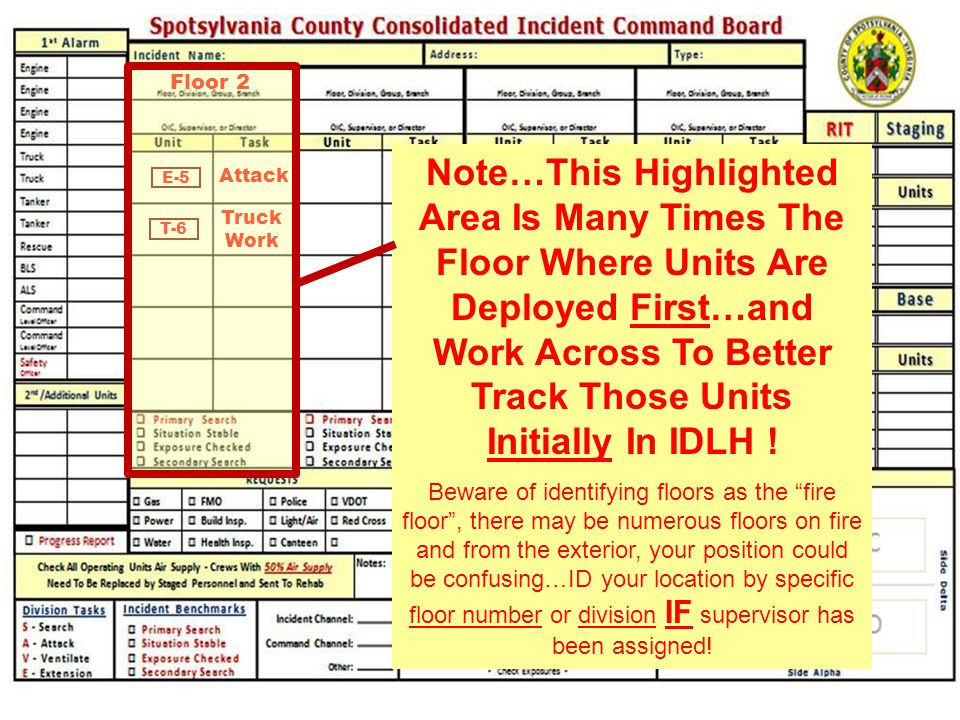 E-5 Attack Floor 2 T-6 Truck Work Note…This Highlighted Area Is Many Times The Floor Where Units Are Deployed First…and Work Across To Better Track Th