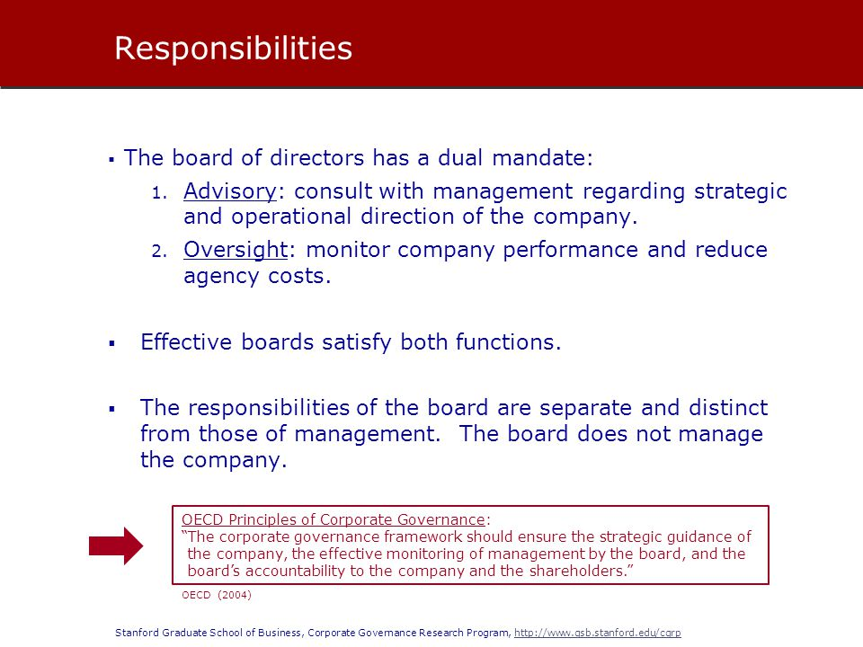 Stanford Graduate School of Business, Corporate Governance Research Program, http://www.gsb.stanford.edu/cgrphttp://www.gsb.stanford.edu/cgrp  Under state corporate law, the duties of the board are embodied by the principle of fiduciary duty.