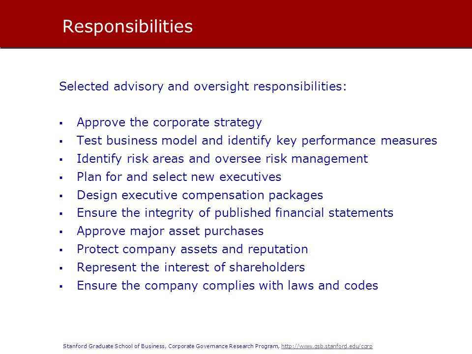 Stanford Graduate School of Business, Corporate Governance Research Program, http://www.gsb.stanford.edu/cgrphttp://www.gsb.stanford.edu/cgrp  Fiduciary duties are enforced by judicial intervention: 1.