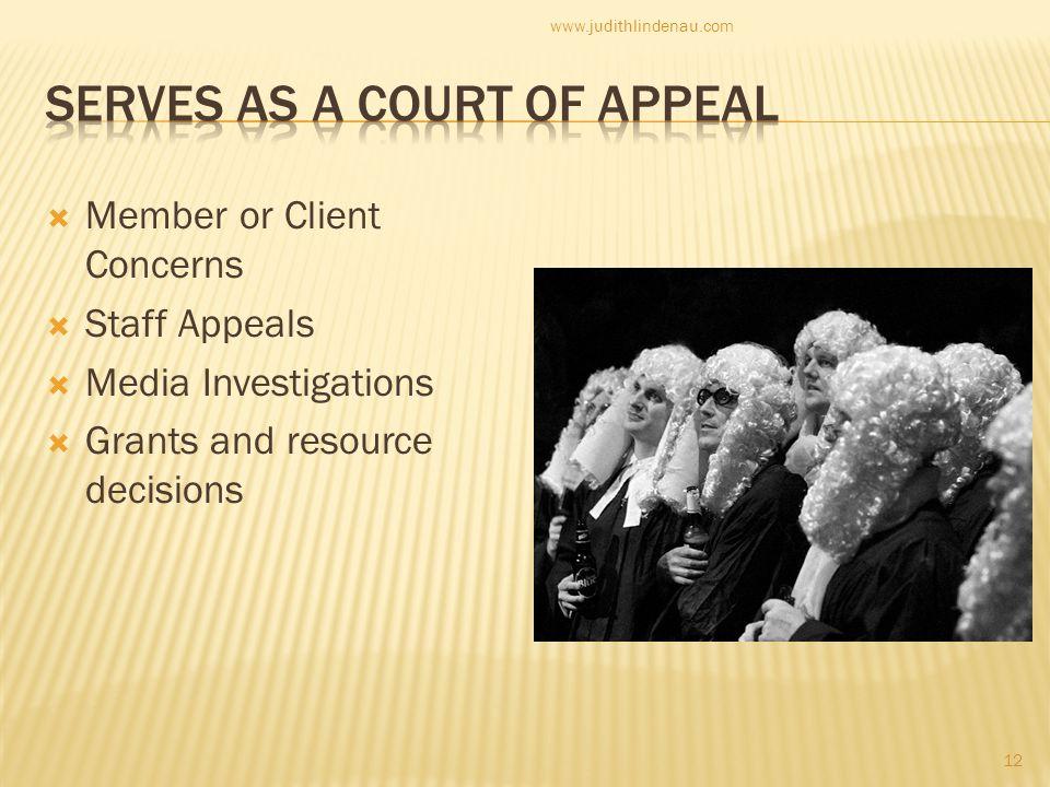  Member or Client Concerns  Staff Appeals  Media Investigations  Grants and resource decisions 12 www.judithlindenau.com