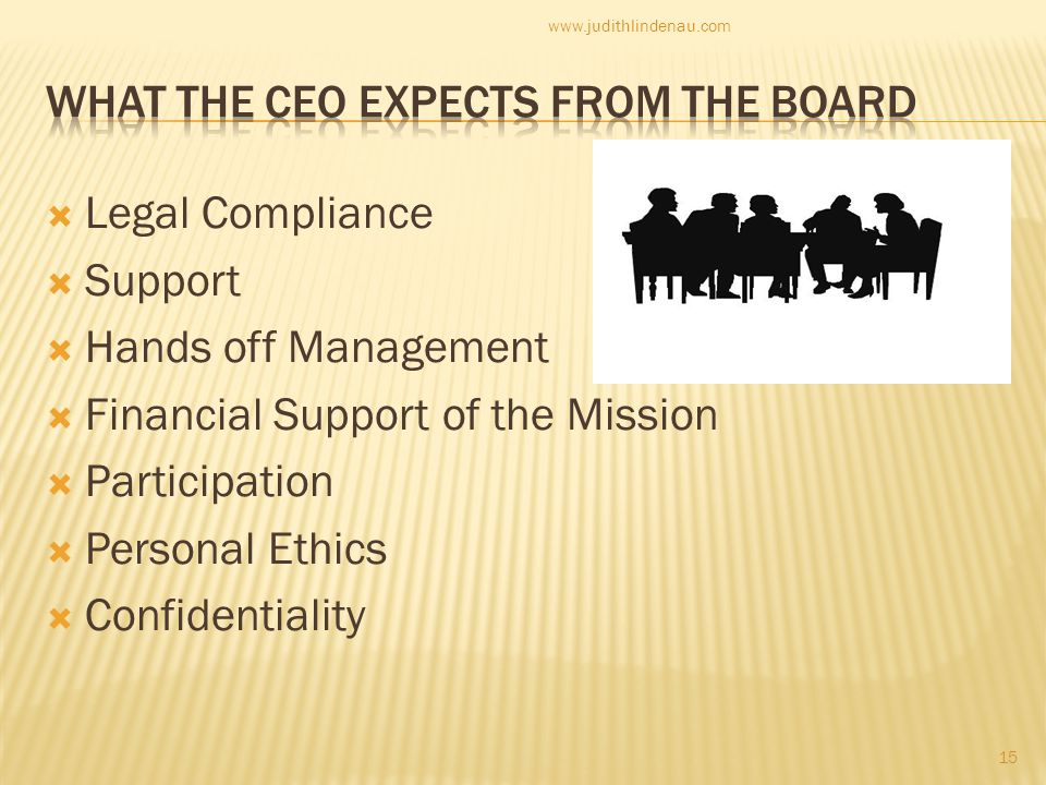  Legal Compliance  Support  Hands off Management  Financial Support of the Mission  Participation  Personal Ethics  Confidentiality 15 www.judithlindenau.com