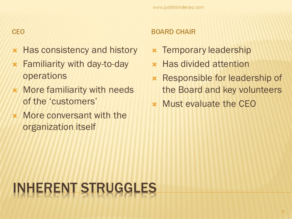 CEOBOARD CHAIR  Has consistency and history  Familiarity with day-to-day operations  More familiarity with needs of the 'customers'  More conversant with the organization itself  Temporary leadership  Has divided attention  Responsible for leadership of the Board and key volunteers  Must evaluate the CEO 4 www.judithlindenau.com