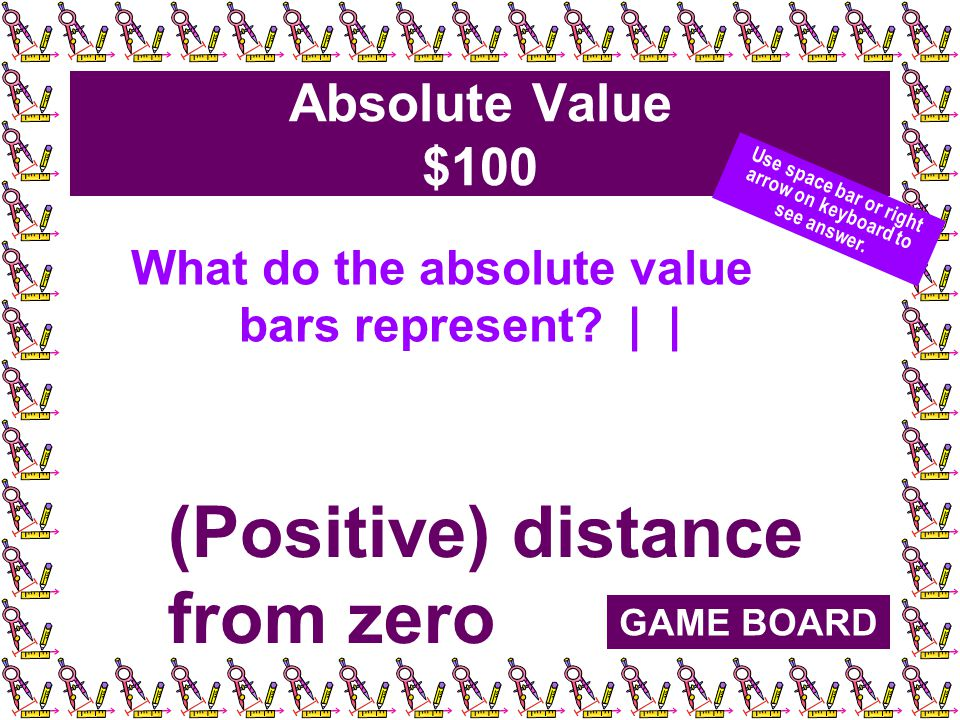 Absolute Value $100 What do the absolute value bars represent.