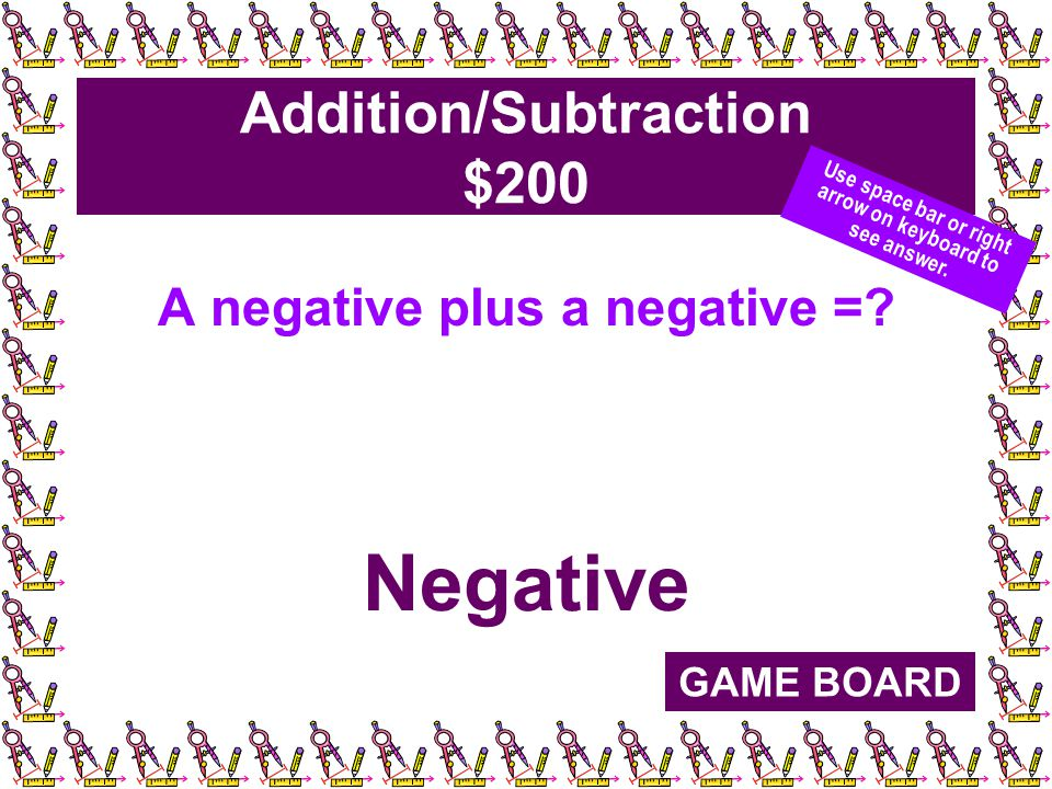 Addition/Subtraction $200 A negative plus a negative =.