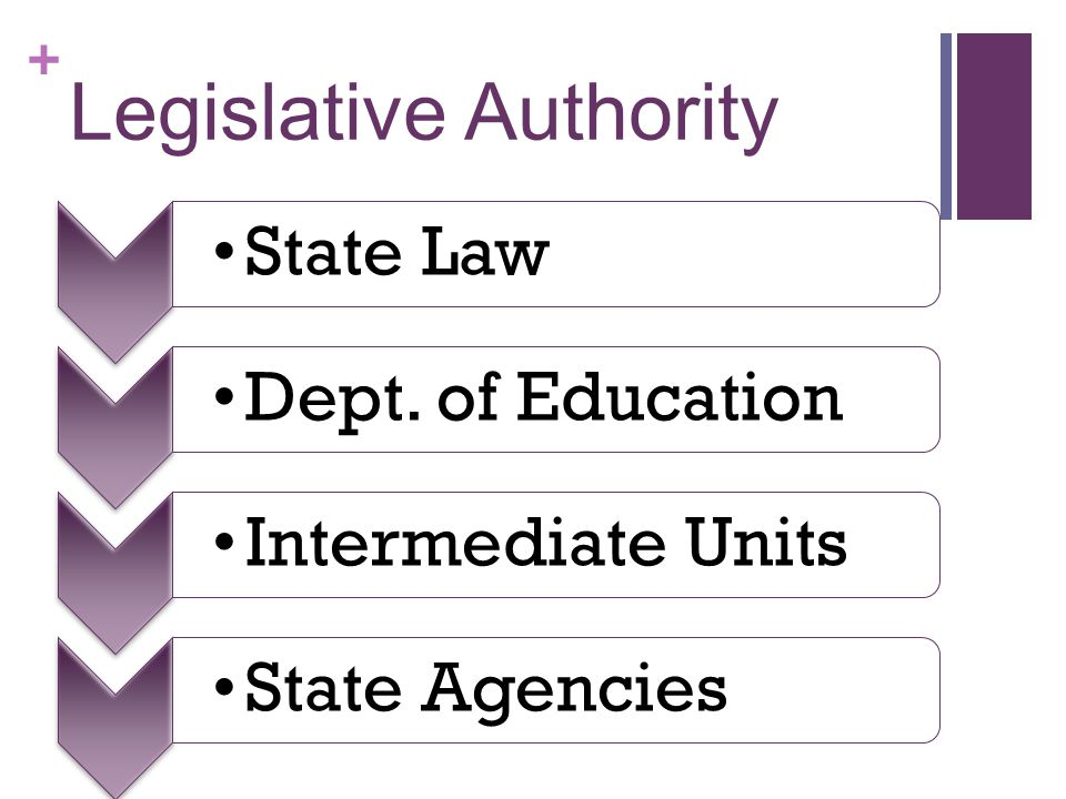 + Legislative Authority State LawDept. of EducationIntermediate Units State Agencies