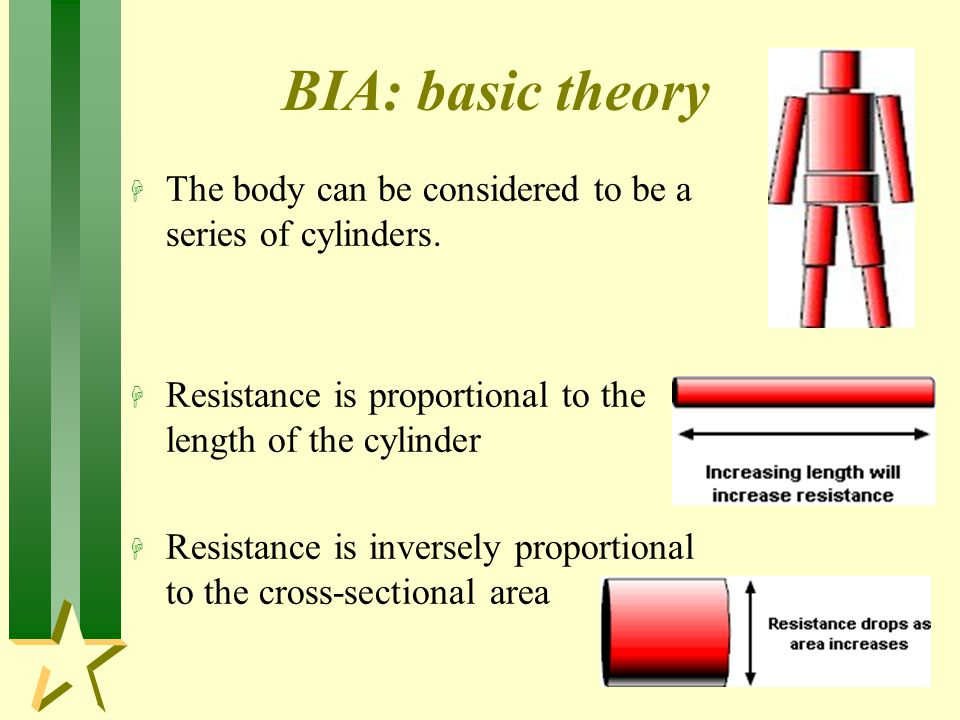 BIA: basic theory H The body can be considered to be a series of cylinders.