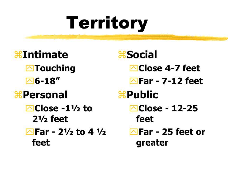 Territory zIntimate yTouching y6-18 zPersonal yClose -1½ to 2½ feet yFar - 2½ to 4 ½ feet z Social yClose 4-7 feet yFar - 7-12 feet z Public yClose - 12-25 feet yFar - 25 feet or greater