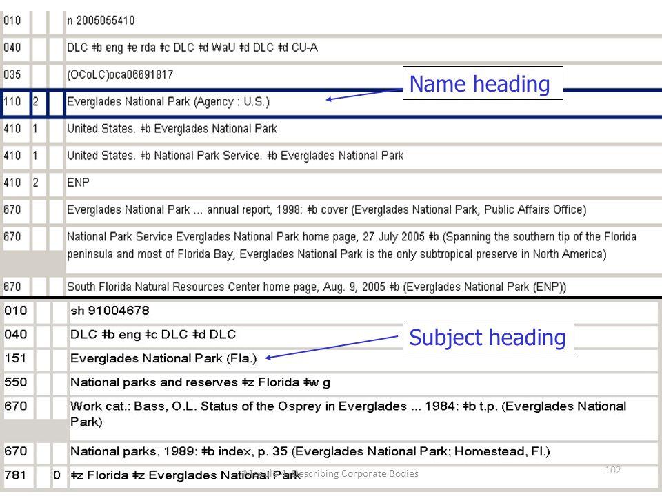 102 Name heading Subject heading Module 4. Describing Corporate Bodies 102