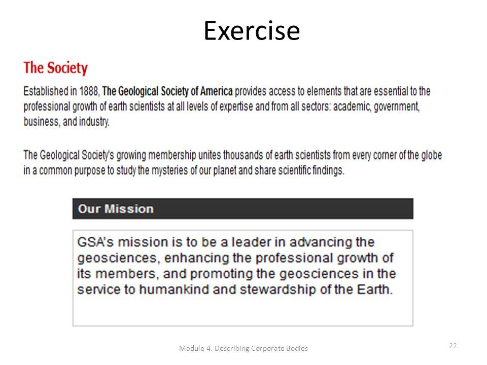 Exercise Module 4. Describing Corporate Bodies 22
