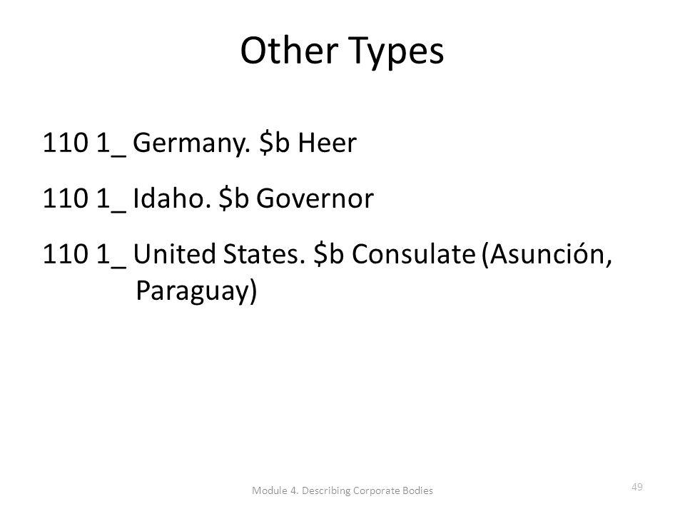Other Types 110 1_ Germany. $b Heer 110 1_ Idaho.