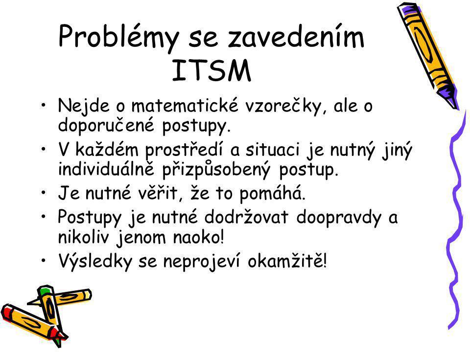 Problémy se zavedením ITSM Nejde o matematické vzorečky, ale o doporučené postupy.