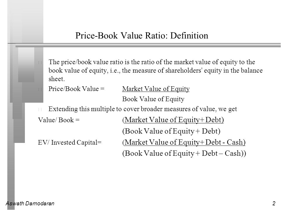 Aswath Damodaran2 Price-Book Value Ratio: Definition The price/book value ratio is the ratio of the market value of equity to the book value of equity, i.e., the measure of shareholders' equity in the balance sheet.