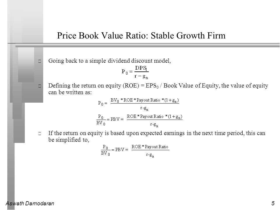 Aswath Damodaran5 Price Book Value Ratio: Stable Growth Firm Going back to a simple dividend discount model, Defining the return on equity (ROE) = EPS 0 / Book Value of Equity, the value of equity can be written as: If the return on equity is based upon expected earnings in the next time period, this can be simplified to,