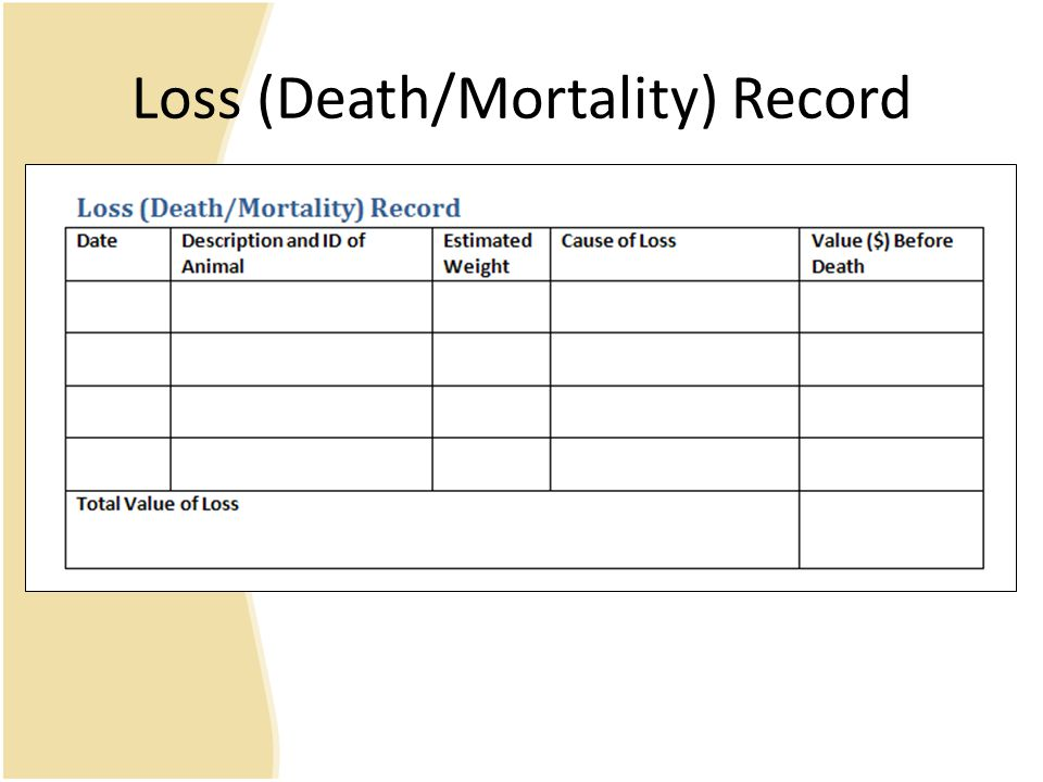Loss (Death/Mortality) Record