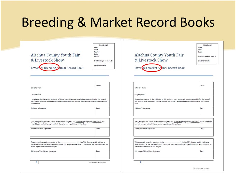 Breeding & Market Record Books