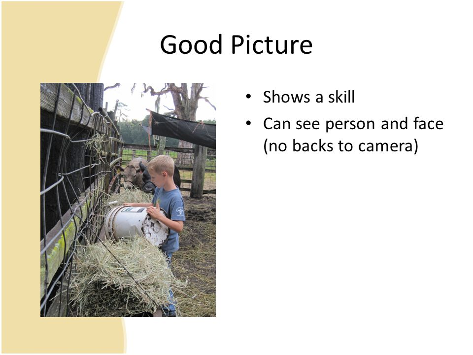 Good Picture Shows a skill Can see person and face (no backs to camera)