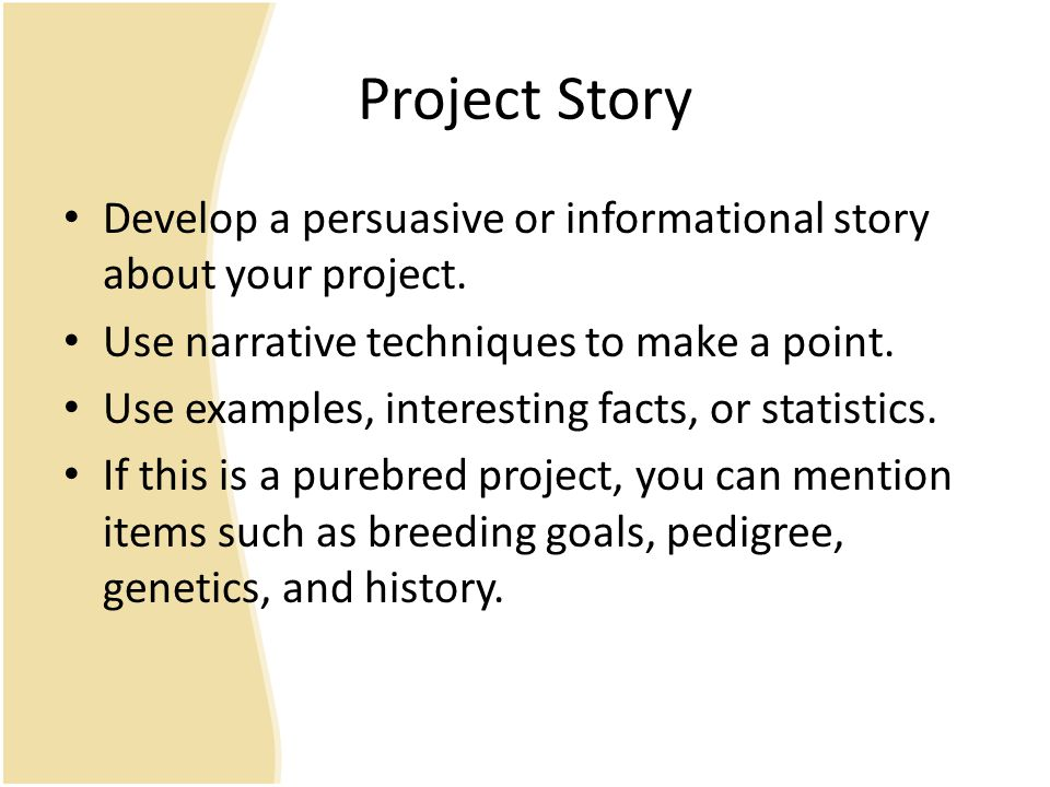Project Story Develop a persuasive or informational story about your project.
