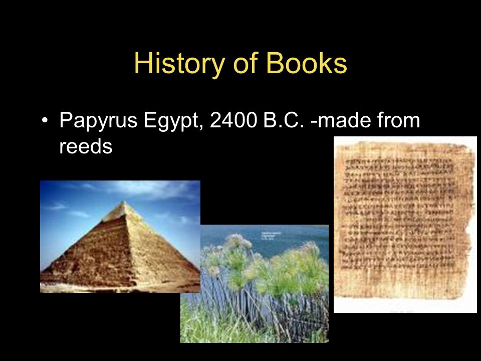 History of Books Papyrus Egypt, 2400 B.C. -made from reeds