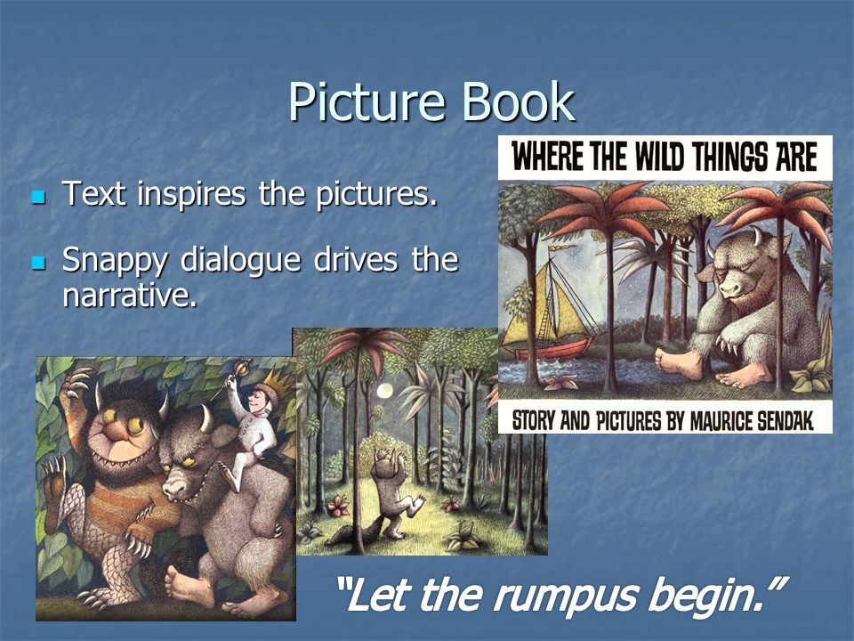 Picture Book Text inspires the pictures. Text inspires the pictures.