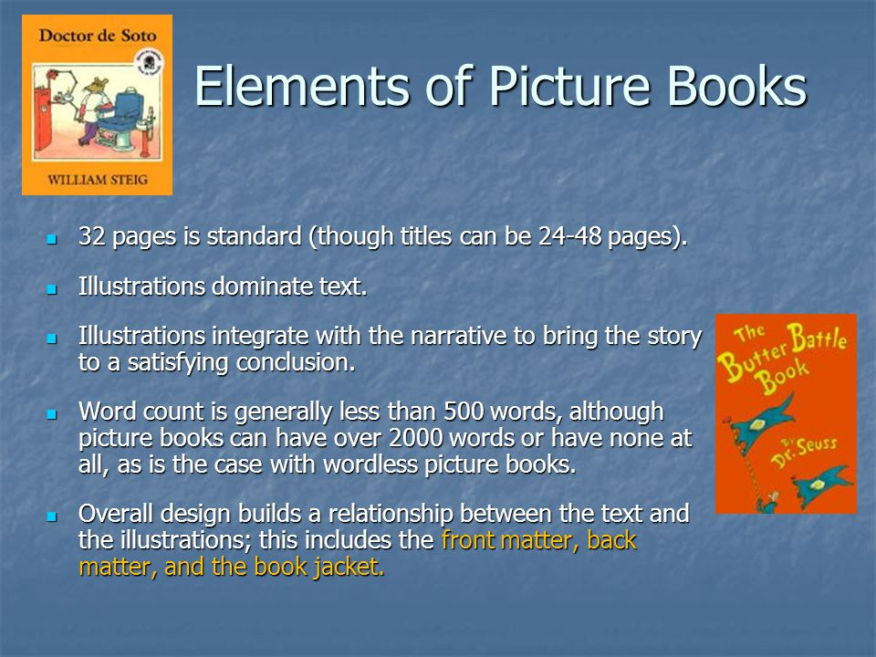 Elements of Picture Books 32 pages is standard (though titles can be 24-48 pages).