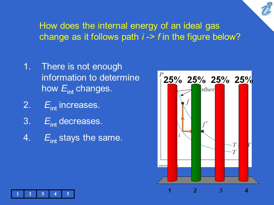How does the internal energy of an ideal gas change as it follows path i -> f in the figure below? 12345 1.There is not enough information to determin