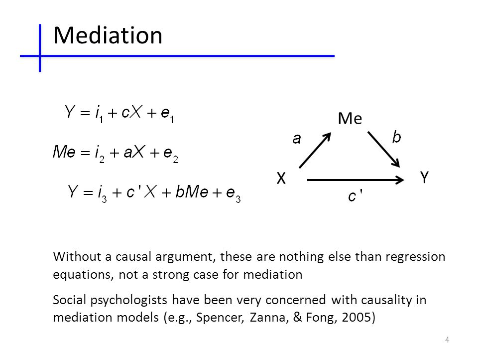 4 X Y Me Mediation Without a causal argument, these are nothing else than regression equations, not a strong case for mediation Social psychologists have been very concerned with causality in mediation models (e.g., Spencer, Zanna, & Fong, 2005)