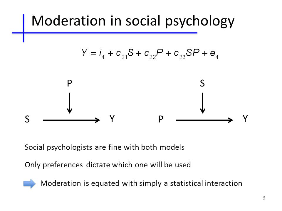 8 S Y P P Y S Social psychologists are fine with both models Only preferences dictate which one will be used Moderation in social psychology Moderation is equated with simply a statistical interaction