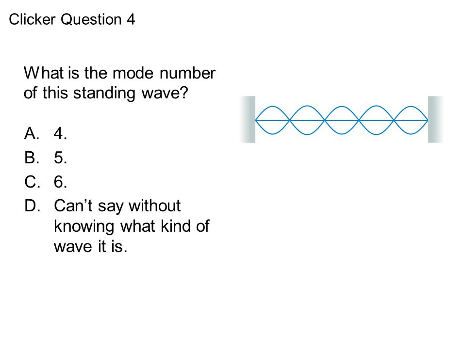What is the mode number of this standing wave? QuickCheck 21.4 A.4. B.5. C.6. D.Can't say without knowing what kind of wave it is. Clicker Question 4