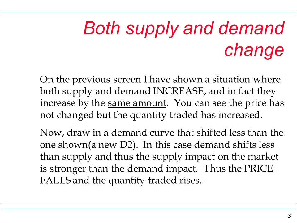 4 Hint if supply and demand move in opposite directions: Show demand shift a little and supply shift a lot.