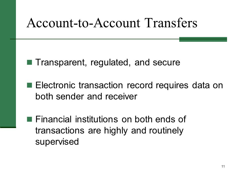 11 Account-to-Account Transfers Transparent, regulated, and secure Electronic transaction record requires data on both sender and receiver Financial institutions on both ends of transactions are highly and routinely supervised