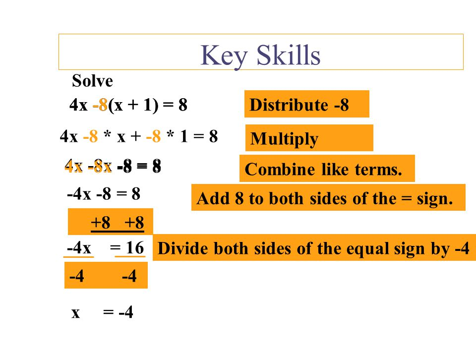 Key Skills Solve 6y +2 –3y = 8 Combine like terms that are on the same side of the = sign. Solve 6y +2 –3y = 8 3y +2 = 8 Subtract 2 from both sides of