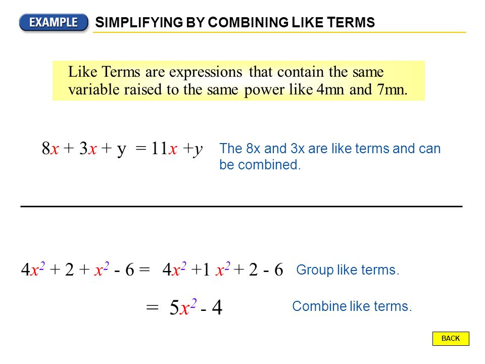 Like Terms are expressions that contain the same variable raised to the same power like 4mn and 7mn.