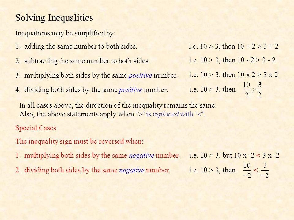 Graphical Solutions AlgebraGraphical Number Line Solution x > 4 x < -5 x ≥ -10 x ≤ 18 Note: '>' and '< ' use and open circle.