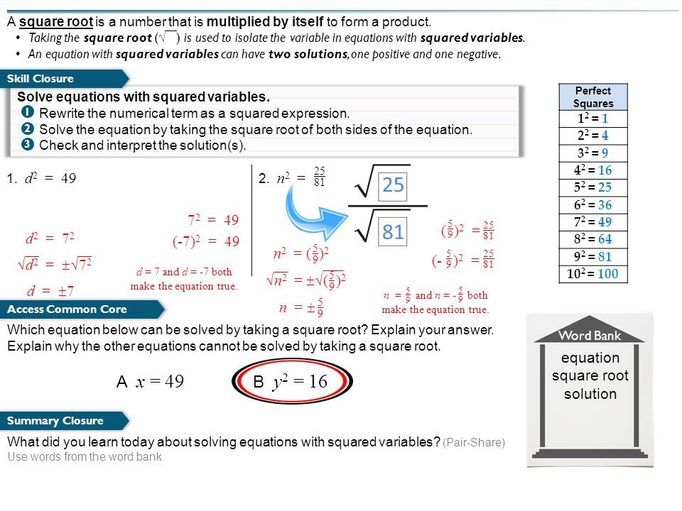 What did you learn today about solving equations with squared variables.