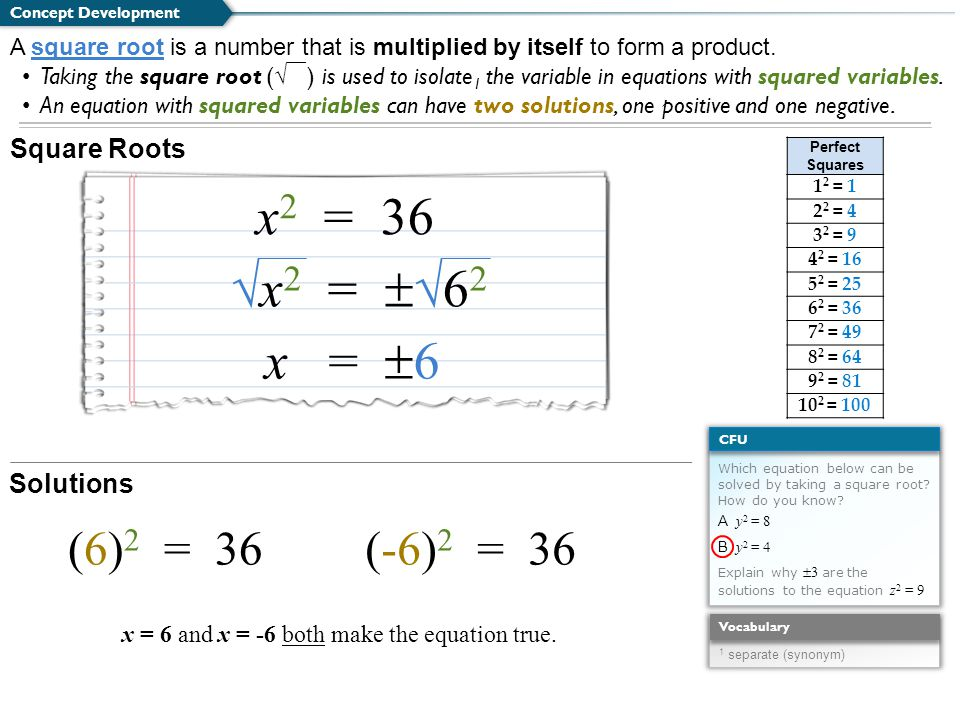 Square Roots Concept Development A square root is a number that is multiplied by itself to form a product. Taking the square root ( √ ) is used to iso
