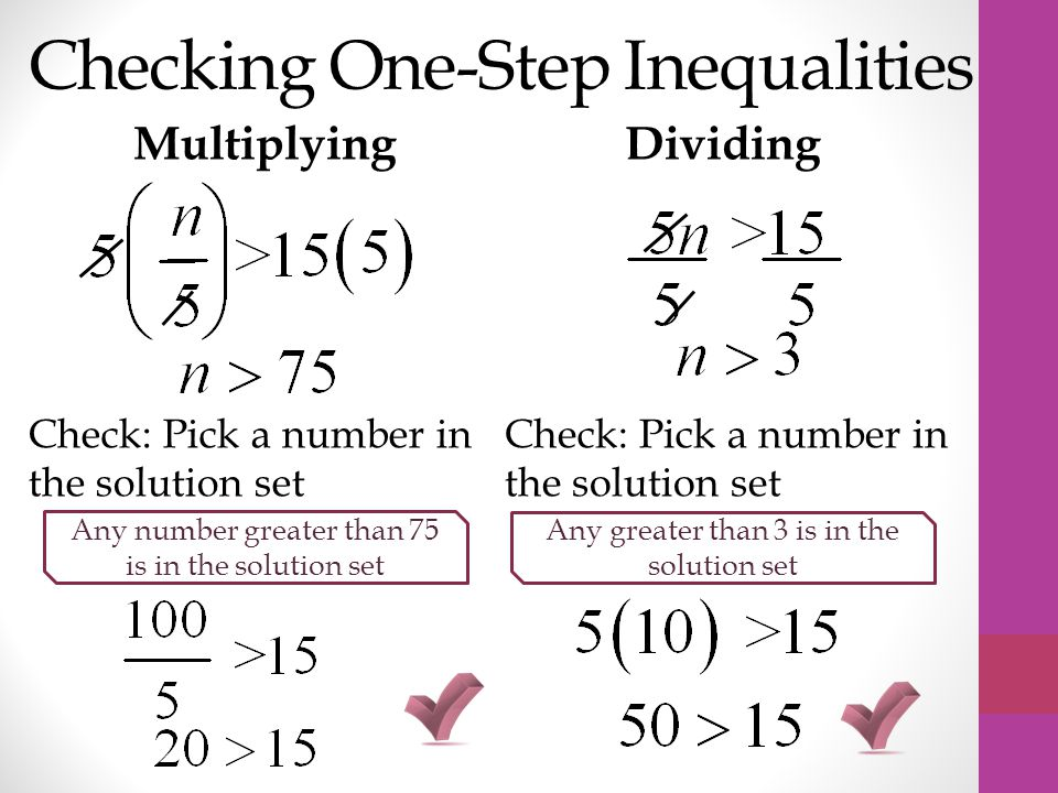 Checking One-Step Inequalities MultiplyingDividing Check: Pick a number in the solution set Any number greater than 75 is in the solution set Any greater than 3 is in the solution set