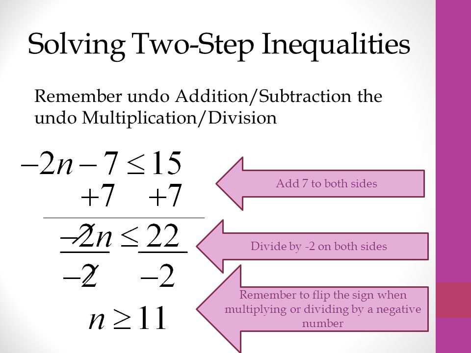 Solving Two-Step Inequalities Remember undo Addition/Subtraction the undo Multiplication/Division Add 7 to both sides Divide by -2 on both sides Remember to flip the sign when multiplying or dividing by a negative number