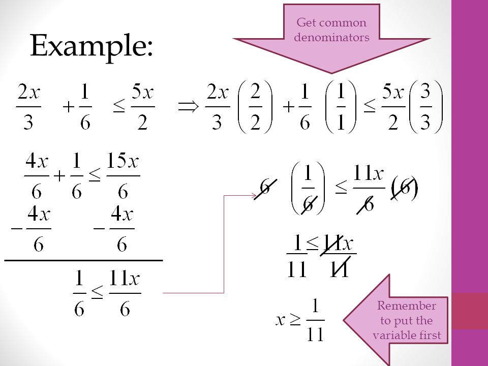 Example: Get common denominators Remember to put the variable first